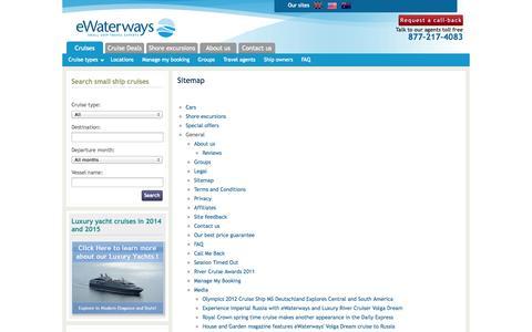 Screenshot of Site Map Page ewaterways.com - Sitemap - eWaterways - captured Oct. 3, 2014