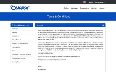 Screenshot of Terms Page quasargaming.com - QuasarGaming.com - Terms and Conditions - captured Nov. 11, 2016
