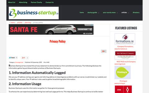 Screenshot of Privacy Page business-startup.ie - Privacy Policy - captured Oct. 5, 2014