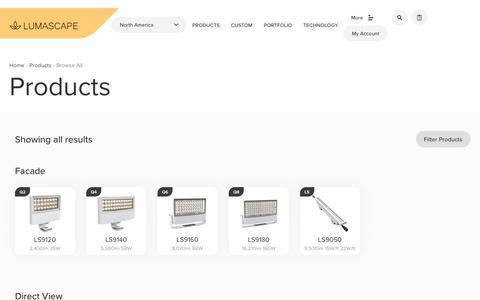 Screenshot of Products Page lumascape.com - Lighting Product Range   Lumascape - captured Sept. 30, 2018