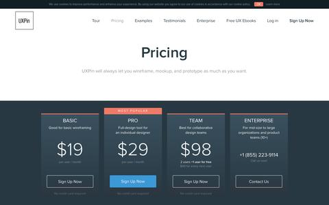 UXPin's Pricing: Try It Free, Then Subscribe From About 63¢ A Day!