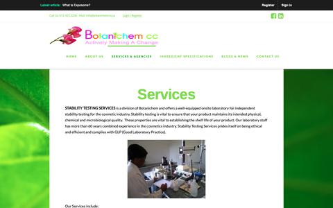 Screenshot of Services Page botanichem.co.za - Services & Agencies | Botanichem - captured Oct. 6, 2018