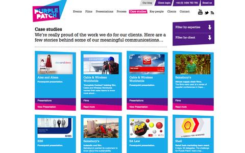 Screenshot of Case Studies Page purplepatchgroup.co.uk - Case studiesCase studies - Purple Patch - Purple Patch - captured Sept. 30, 2014