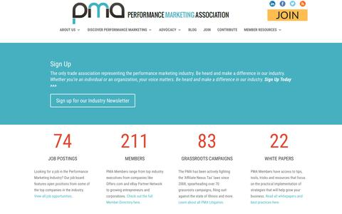 Screenshot of Home Page thepma.org - The PMA | The Performance Marketing Association - captured June 28, 2017