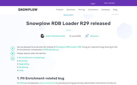 Screenshot of Blog snowplowanalytics.com - Snowplow RDB Loader R29 released - captured Feb. 10, 2020