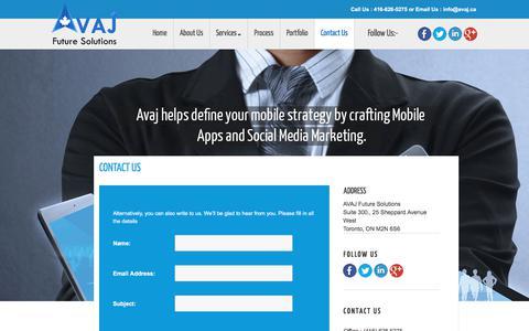Screenshot of Contact Page avaj.ca - Toronto Mobile App Development   Toronto Mobile Website Design   Mobile Apps Toronto   avaj - captured Oct. 7, 2017