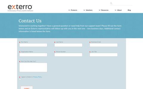 Screenshot of Contact Page exterro.com - Contact Us - Exterro - captured July 21, 2019