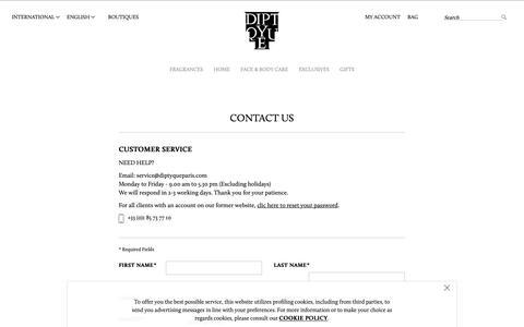 Screenshot of Contact Page diptyqueparis.com - Contact Us | Diptyque Paris - captured Oct. 22, 2018