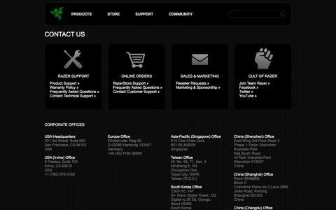 Screenshot of Contact Page razerzone.com - Contact Us - captured Feb. 10, 2017