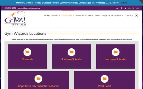 Screenshot of Locations Page gymwizards.co.za - GYM WIZARDS LOCATIONS - Gym Wizards - captured Sept. 25, 2018