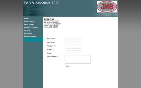 Screenshot of Contact Page jmb-assoc.com - JMB & Associates, LLC. Contact Us - captured Feb. 4, 2016