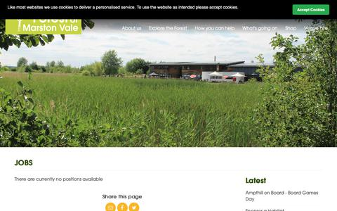 Screenshot of Jobs Page marstonvale.org - The Forest of Marston Vale Trust | Jobs - captured Nov. 14, 2018
