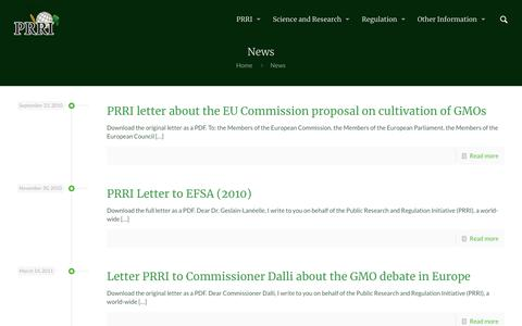 Screenshot of Press Page prri.net - News – PRRI – Public Research & Regulation Initiative - captured Oct. 2, 2018