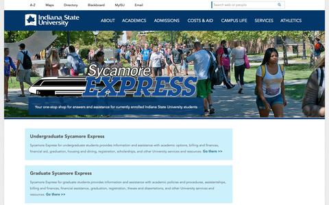 Screenshot of Services Page indstate.edu - Sycamore Express | Indiana State University - captured Oct. 11, 2018