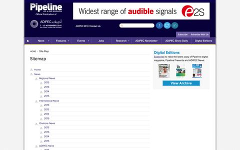 Screenshot of Site Map Page pipelineme.com - Site Map -  Pipeline Magazine - captured Jan. 21, 2016