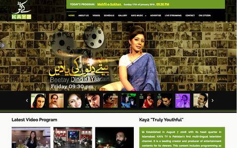 Screenshot of Home Page kay2.tv - Kay2 tv official website. KAY2 TV is Pakistan�۪s first multi-lingual television channel - captured Jan. 17, 2016