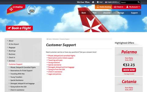 Screenshot of Support Page airmalta.com - Customer Support - captured May 29, 2017