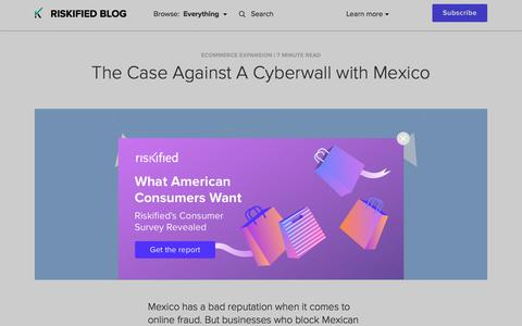 Screenshot of Case Studies Page riskified.com - The Case Against A Cyberwall with Mexico | Riskified Blog - captured Feb. 20, 2020