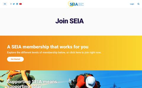 Screenshot of Signup Page seia.org - Join | SEIA - captured Sept. 23, 2018