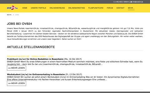 Screenshot of Jobs Page ovb24.de - Jobs - OVB24 - captured Oct. 25, 2017