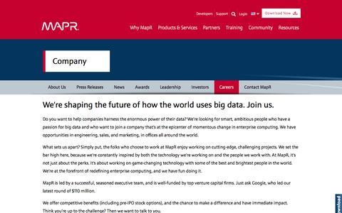 Screenshot of Jobs Page mapr.com - Careers | MapR - captured Sept. 1, 2016