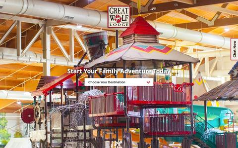 Screenshot of Home Page greatwolf.com - North America's Largest Family Indoor Water Park | Plan Your Getaway | GreatWolf.com - captured June 17, 2015