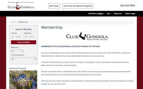 Screenshot of Signup Page clubgondola.com - CLUB Gondola | Private Vacation Club | Membership Information - captured Nov. 4, 2018