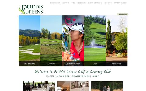Screenshot of Home Page priddisgreens.com - Priddis Greens Golf and Country Club - Priddis, AB - Home - captured Jan. 31, 2016