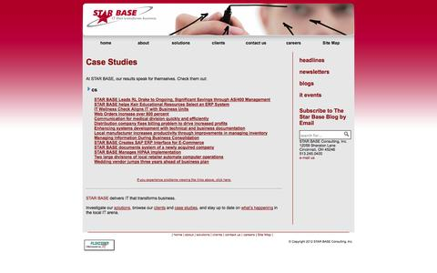 Screenshot of Case Studies Page starbaseinc.com - STAR BASE Consulting, Inc. - case studies - captured Oct. 3, 2014