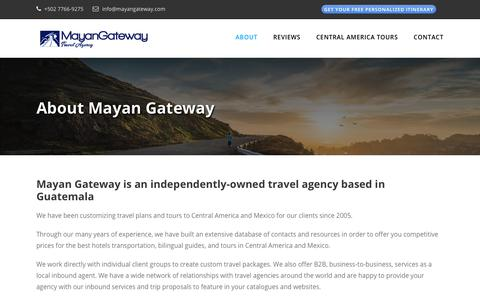 Screenshot of About Page mayangateway.com - About Mayan Gateway ❂ Travel Agency in Guatemala - captured Nov. 6, 2018