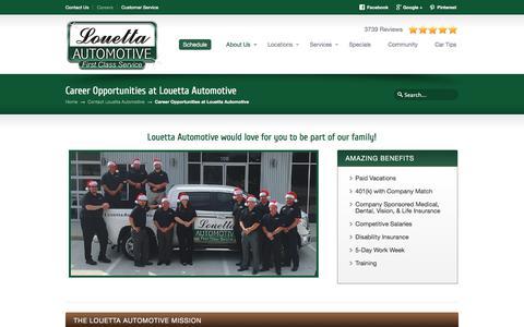 Screenshot of Jobs Page louettaautomotive.com - Auto Repair | Oil Change | Brake Service | Texas | Louetta Automotive | First Class Service - captured July 23, 2018