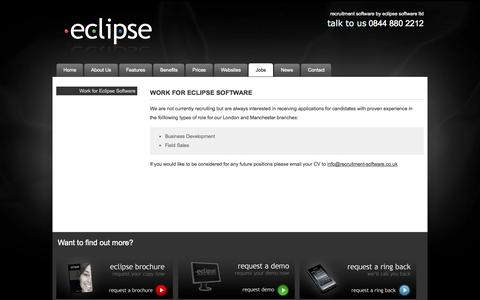 Screenshot of Jobs Page recruitment-software.co.uk - Work for Eclipse Software - Eclipse Recruitment Software - captured Oct. 22, 2014
