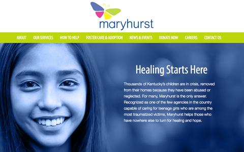 Screenshot of Home Page maryhurst.org - Maryhurst - A Journey of Hope - captured Sept. 30, 2014