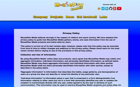 Screenshot of Privacy Page mousepawgames.com - Privacy Policy � MousePaw Games - captured Jan. 11, 2016
