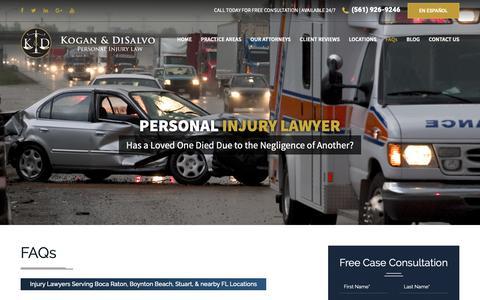 Screenshot of FAQ Page kogan-disalvo.com - FAQs | Boca Raton Personal Injury Lawyer - captured Oct. 15, 2018