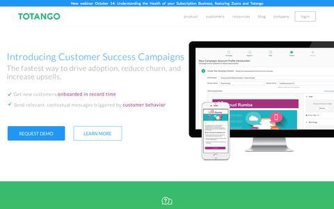 Screenshot of Home Page totango.com - Totango | Customer Success Software - captured Oct. 1, 2015