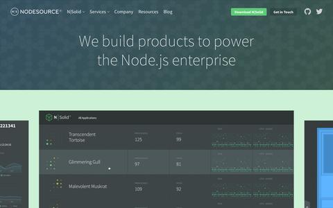 Screenshot of Products Page nodesource.com - NodeSource Products | The Enterprise Node Company™ Providing Enterprise Node.js Training, Support, Software & Consulting, Worldwide - captured Feb. 22, 2016