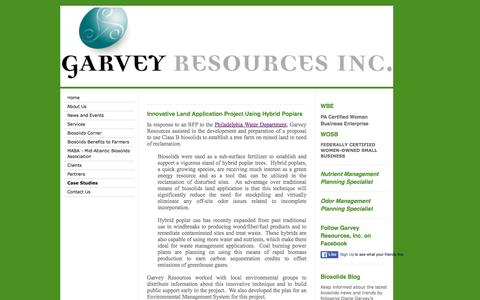 Screenshot of Case Studies Page garveyresources.com - Garvey Resources INC - Lansdale PA - Consulting for Biosolids and Environmental Issues - Case Studies - captured Jan. 26, 2016