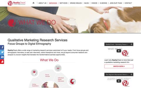 Screenshot of Services Page realitycheckinc.com - Qualitative Consumer Marketing Research Services - captured Feb. 17, 2016
