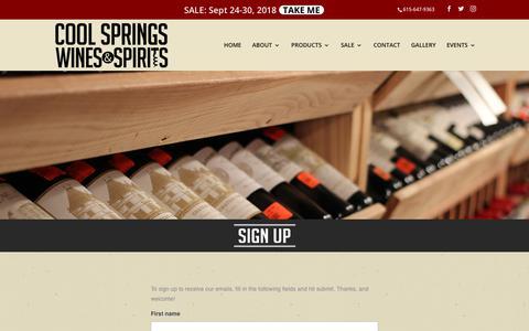 Screenshot of Signup Page coolspringswines.com - SIGN UP | Cool Springs Wines & Spirits - captured Sept. 29, 2018