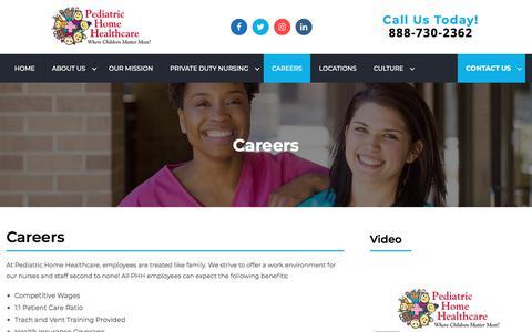 Screenshot of Jobs Page pediatrichomehealthcare.com - Careers - Pediatric Home Healthcare - captured Aug. 20, 2019