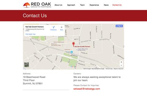 Screenshot of Contact Page redoakgp.com - Contact Us - Red Oak Growth Partners - captured Feb. 16, 2016
