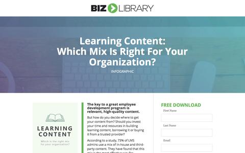 Screenshot of Landing Page bizlibrary.com - Learning Content: Build, Borrow or Buy? [Infographic] - captured June 30, 2017