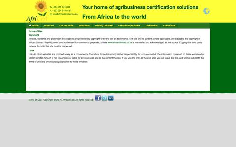 Screenshot of Terms Page africertlimited.co.ke - Terms Of Use - agribusiness certification company in kenya,AfriCert Ltd - captured July 29, 2018