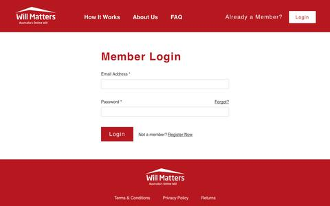 Screenshot of Login Page willmatters.com.au - Log In | WillMatters - Australia's Online Will - captured Dec. 3, 2016