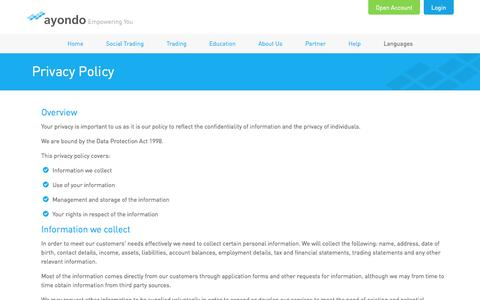 Screenshot of Privacy Page ayondo.com - ayondo: Privacy Policy - captured Sept. 13, 2014