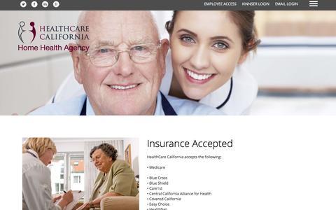 Screenshot of Services Page healthcal.com - HealthCare California Home Health Agency - captured Nov. 5, 2016