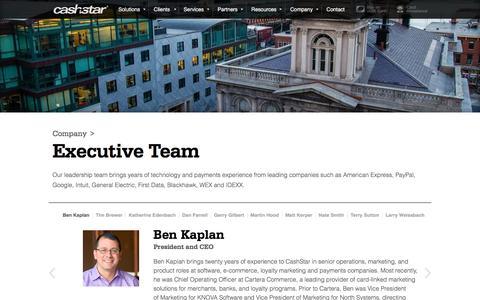 Screenshot of Team Page cashstar.com - CashStar Leadership Team: CEO and Vice Presidents - captured May 9, 2017
