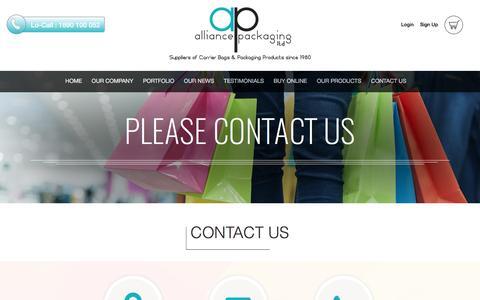 Screenshot of Contact Page alliancepackaging.ie - Contact Us - Alliance Packaging Ltd. - captured Nov. 20, 2016