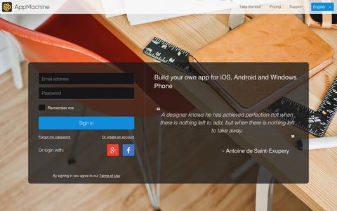 Screenshot of Login Page appmachine.com - AppMachine - captured Jan. 13, 2016